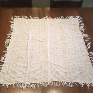 Accessories - Off white square scarf with fringe